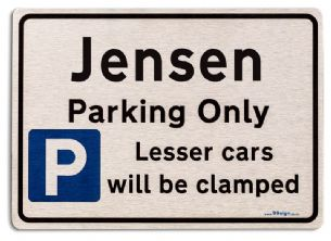 Gift for Jensen car owner | New Parking only Sign | Metal face Brushed Aluminium